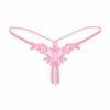 Pearl Pink Rose Sexy G-string กางเกงในจีสตริงลายกุหลาบสีชมพู กางเกงในเปิดเป้าแต่งมุก