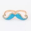 Ocean Blue Beard Double Ring แหวนคู่แฟชั่นสีทองรูปหนวดแต่งสีฟ้าน้ำทะเล