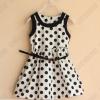 ชุดกระโปรงแขนกุดขาวจุดดำ Polka dot dress กุ๊นผ้าที่คอและแขน มีซับใน พร้อมเข็มขัดเงางาม สวย เรียบ ดูดีมากๆค่ะ size 2-3, 3-4, 4-5, 5-6, 7-8