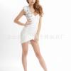 2in1 White Sexy Party Dress ชุดเดรสสีขาวจับจีบย่นแต่งดอกไม้ที่ไหล่ พร้อมจีสตริง