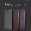 Hanton : Metal Square Leather Flip Plain Case Hard Plastic for Apple iPhone 6 (4.7inch)