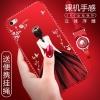 (025-757)เคสมือถือไอโฟน case iphone 5/5s/SE เคสนิ่มซิลิโคนลายการ์ตูนผู้หญิง ขอบเพชรพร้อมสายคล้องคอถอดแยกได้
