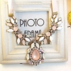 #Sweet Pink Waterdrop Statement Necklace สร้อยคอเจ้าหญิงแต่งคริสตัลสีขาว ชมพู สายริบบิ้น
