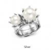 VH Style Silver Crown Pearl Ring แหวนมุกมงกุฏคู่สีเงิน