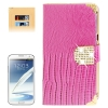 Lizard Texture Diamond Encrusted Button for Samsung Galaxy Note II / N7100 (Magenta)