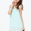 Blue Turqouise Strap Cross Mini Dress ชุดแซกไปงานผ้าชีฟองสีฟ้าเทอร์คอยส์สายไขว้ ไซส์ M