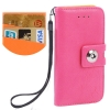 Case เคส Litchi Texture Button Flip Holster for iPhone 5 (Magenta)
