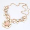 Sweet Pink Gold Statement Necklace สร้อยคอสีทองแต่งคริสตัลสีขาว ชมพู สวยหวาน