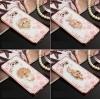 (025-555)เคสมือถือซัมซุง Case Note5 เคสนิ่มใสขอบแววพื้นหลังลายดอกไม้คริสตัลแหวนโลหะ