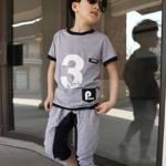 ชุดเด็ก เสื้อสีเทากางเกงสีเทา มีขนาด 100-140