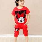 ชุดเด็ก เสื้อสีแดงลายมินนี่เมาส์กางเกงสีแดง ขนาด 100-140