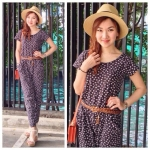 Jumpsuit Pocket Tiny Flower สีดำ