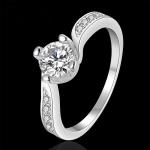 R907 แแหวนเพชรCZ ตัวเรือนเคลือบเงิน 925 หัวแหวนเพชรเรียง ขนาดแหวนเบอร์ 7