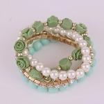 5in1 Green Pastel Rose Bracelet Set สร้อยข้อมือชุด 5 ชิ้น ลายดอกกุหลาบสไตล์หวาน