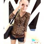 เสื้อผ้าแฟชั่นสไตส์เกาหลี เสื้อยืดแขนยาว  ลายเสือดาว  +พร้อมส่ง+