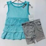 Carter's ชุดเซ็ท 2 ชิ้น เสื้อแขนกุด สีฟ้าลายกราฟฟิก+กางเกงขาสั้นสีเทา เนื้อนิ่ม ใส่ลำลอง สบายๆได้ทุกวันค่ะ size 2, 3, 4, 5T