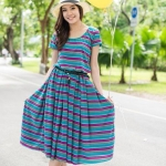 Midi Dress What a Colorful Day! สีฟ้าม่วง