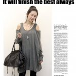 เสื้อผ้าแฟชั่นสไตส์เกาหลี  แซกเสื้อแขนยาวเว้าไหล่  สีเทา +พร้อมส่ง+