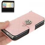 Case เคส Plaid Diamond Flower Button Flip iPhone 5(Pink)