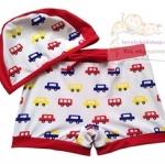 ชุดว่ายน้ำเด็ก กางเกงลายรถ พร้อมหมวก