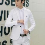 ชุดสูทชาย แฟชั่น ผ้าโพลีเอสเตอร์ กางเกงขากระบอกเล็ก สีขาว L *สูท+กางเกง*