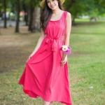 Plain Maxi Dress พีช