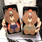 (025-589)เคสมือถือวีโว Vivo X6 เคสนิ่มลายหมี พร้อมสายคล้องคอแบบถอดแยกได้