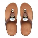*** พร้อมส่ง FitFlop Jeweley Leather Dark Tan US 6