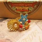 Betsey Johnson Sea Lover Starfish Crab Pearl Ring แหวนรูปเปลือกหอยมุก ปู ปลาดาว สำหรับสาวรักทะเล