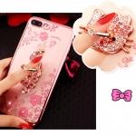 (025-643)เคสมือถือไอโฟน Case iPhone7 Plus/iPhone8 Plus เคสนิ่มลายประดับคริสตัลลายดอกไม้พร้อมแหวนเพชรมือถือและสายคล้องคอถอดแยกได้