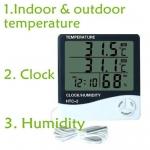 HY03-เครื่องวัดอุณหภูมิ ภายใน ภายนอก เครื่องวัดความชื้น และนาฬิกา HTC2