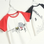 เสื้อเด็กแขนสั้น ลายมิกกี้เมาส์ สีขาวแขนแดง มีขนาด 90-130