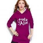 เดรสเสื้อกันหนาวแขนยาว มีฮูด ด้านหน้าสกรีน Studio Alice เสื้อสีบานเย็น +พร้อมส่ง+