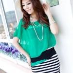เสื้อผ้าแฟชั่นสไตส์เกาหลี  เดรสแขนกุดติดกันกระโปรงสีดำขาว แต่งปิดเสื้อสีเขียว  +พร้อมส่ง+