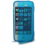 Case เคส Pure Color Horizontal Flip TPU iPhone 5 (Blue)