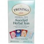 Twinings, Assorted Herbal Teas, Variety Pack, Caffeine Free, 20 Tea Bags,