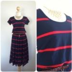 MIDI Dress ผ้าลาคอสสีกรมท่าริ้วแดง