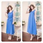 Plain Maxi Dress สีฟ้า