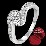 ฟรีกล่องแหวน R908 แแหวนเพชรCZ ตัวเรือนเคลือบเงิน 925 หัวแหวนเพชรล้อม ขนาดแหวนเบอร์ 7