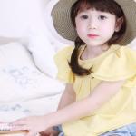 Pink Ideal (งานเกาหลี) เสื้อยืดสีเหลือง สบายตา แขนระบายพริ้วๆ เนื้อผ้าดี ใส่สบายมากค่ะ size 5,7,9,11,13