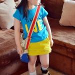 เสื้อเด็กผู้หญิง น่ารัก สไตล์เกาหลี สีฟ้า ลาย we