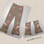 (งานใต้หวัน) กางเกงเลคกิ้งลายดอกไม้ แต่งระบายที่ปลายขา 2 ชั้น เก๋ฝุดๆ size 7