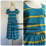 MIDI Dress ผ้าลาคอสสีเขียวน้ำทะเล