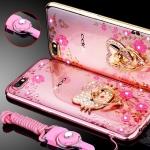 (025-561)เคสมือถือ Case OPPO A77 เคสนิ่มซิลิโคนใสลายหรูติดคริสตัล พร้อมแหวนเพชรวางโทรศัพท์ และสายคล้องคอกดแยกออกได้