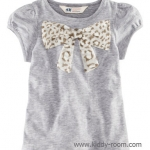 H&M เสื้อยืดสีเทา แขนตุ๊กตา ติดโบว์ผ้าชีฟองลายเสือดาว ผ้าดีมากๆ ใส่สบายค่ะ size 1.5-2, 2-4, 4-6, 6-8