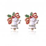 Jingle Bells Christmas Earing ต่างหูคริสต์มาสรูปกระดิ่งคู่แต่งสีและคริสตัลแบบที่2