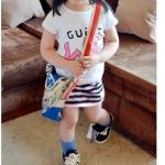 เสื้อเด็กผู้หญิง น่ารัก สไตล์เกาหลี สีขาว ลาย we
