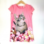 (เด็กโต) H&M ชุดกระโปรงสีโอรส แขนกระปุก ลายน้องแมว สีหวาน น่ารักดีค่ะ size 8-10, 10-12, 12-14