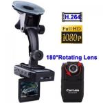 1080P Full HD จอขนาด 2 นิ้ว มุมเลนส์กว้าง 140 องศา บันทึกฟังก์ชั่นการเคลื่อไหว H2.64 กล้องติดรถยนต์