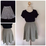 Check Skirt สีขาวดำ